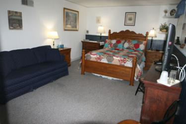 """Tumbling Blocks - our largest room, Plush pillow top queen bed dressed in buttery soft linens and a beautiful quilt, this room has a """"living room"""" with a sofa, fireplace and 42"""" flat screen cable TV.  Enjoy the dual shower heads in your private bath"""