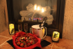 Chocolate strawberries by the fireplace